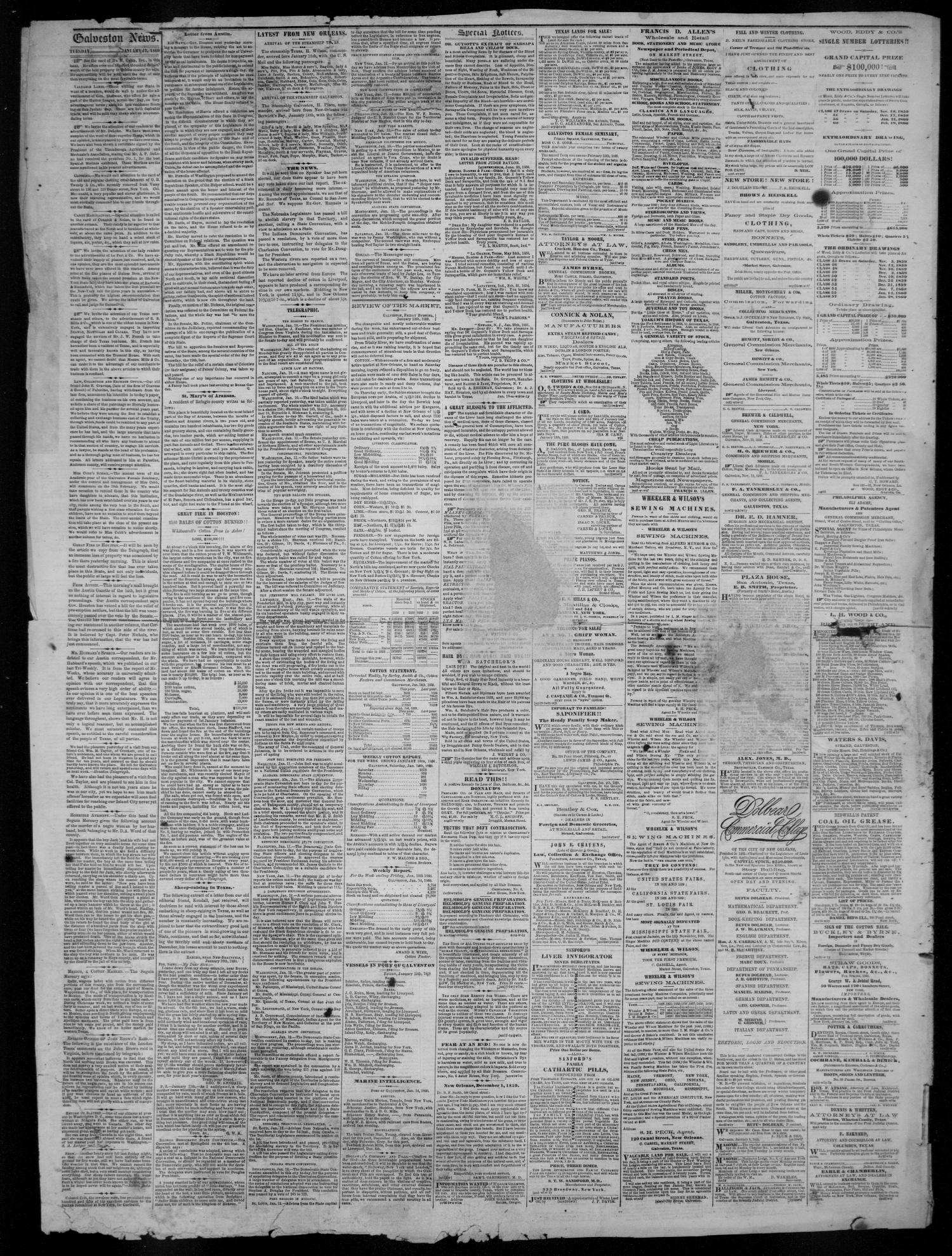 Galveston Weekly News (Galveston, Tex.), Vol. 16, No. 41, Ed. 1, Tuesday, January 17, 1860                                                                                                      [Sequence #]: 2 of 4