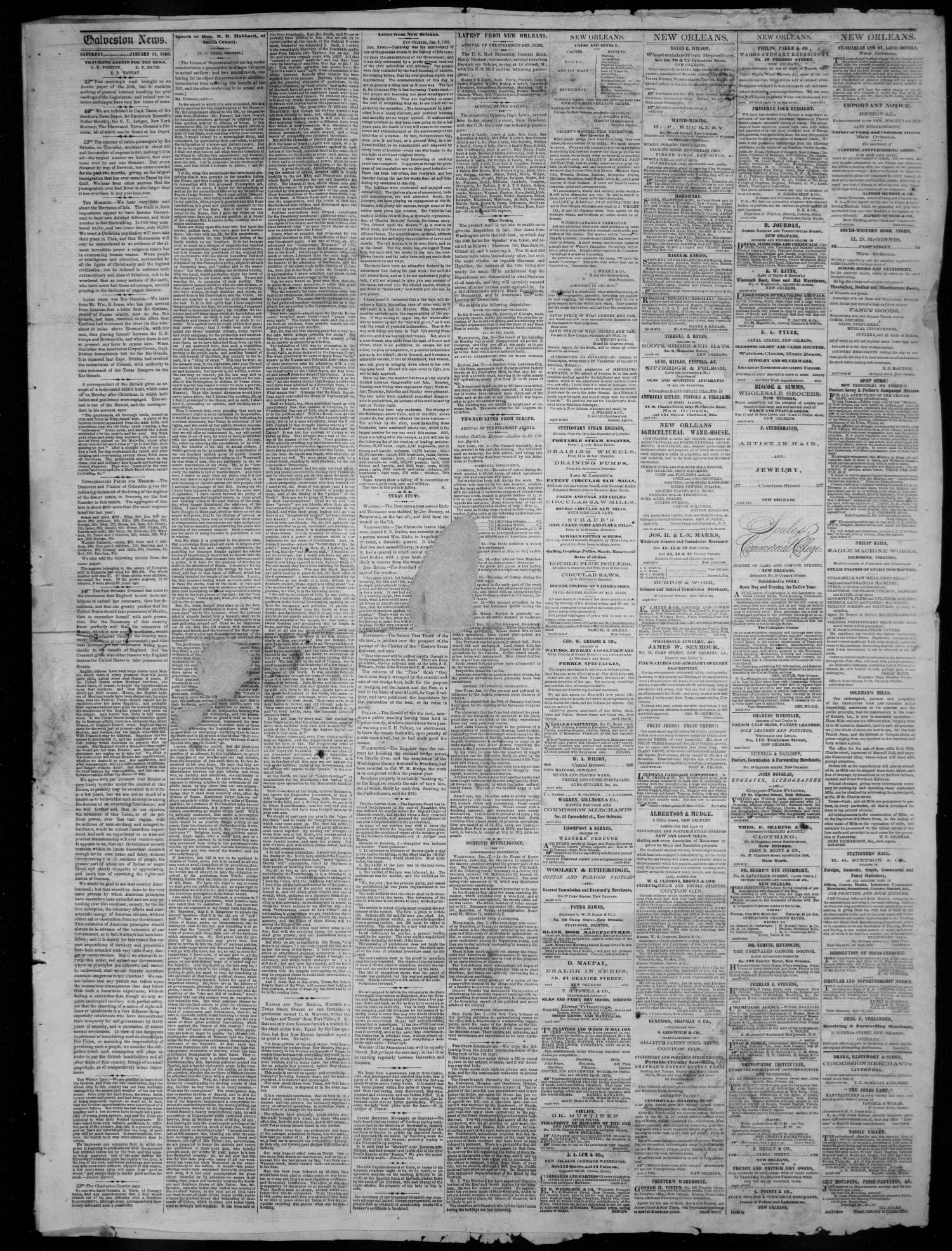 Galveston Weekly News (Galveston, Tex.), Vol. 16, No. 41, Ed. 1, Tuesday, January 17, 1860                                                                                                      [Sequence #]: 3 of 4