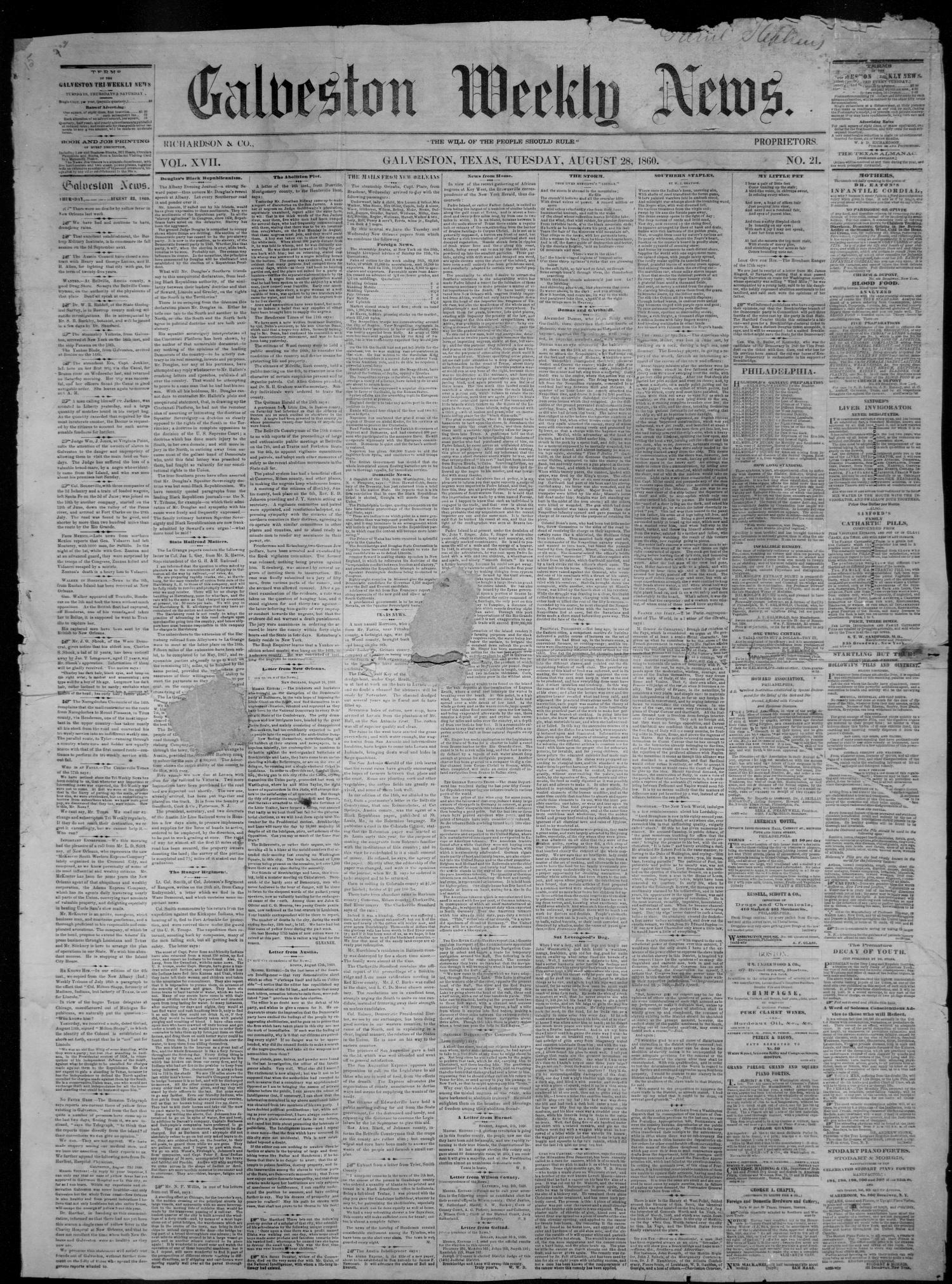 Galveston Weekly News (Galveston, Tex.), Vol. 17, No. 21, Ed. 1, Tuesday, August 28, 1860                                                                                                      [Sequence #]: 1 of 4