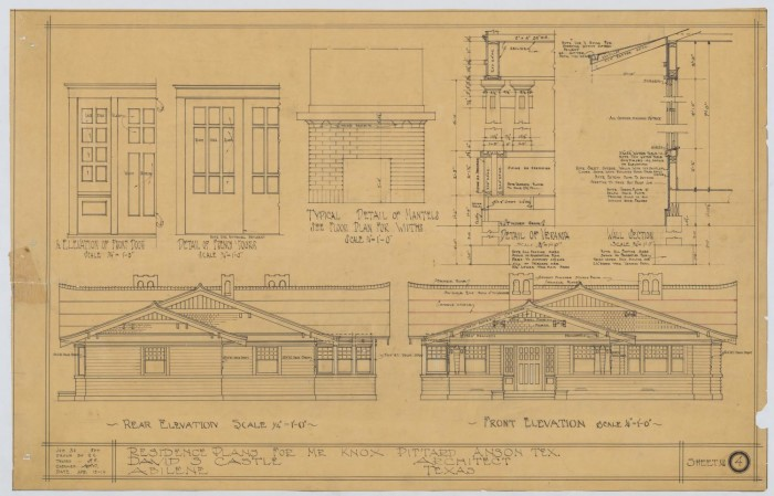 Pittard Residence, Anson, Texas: Elevations and Details ... on