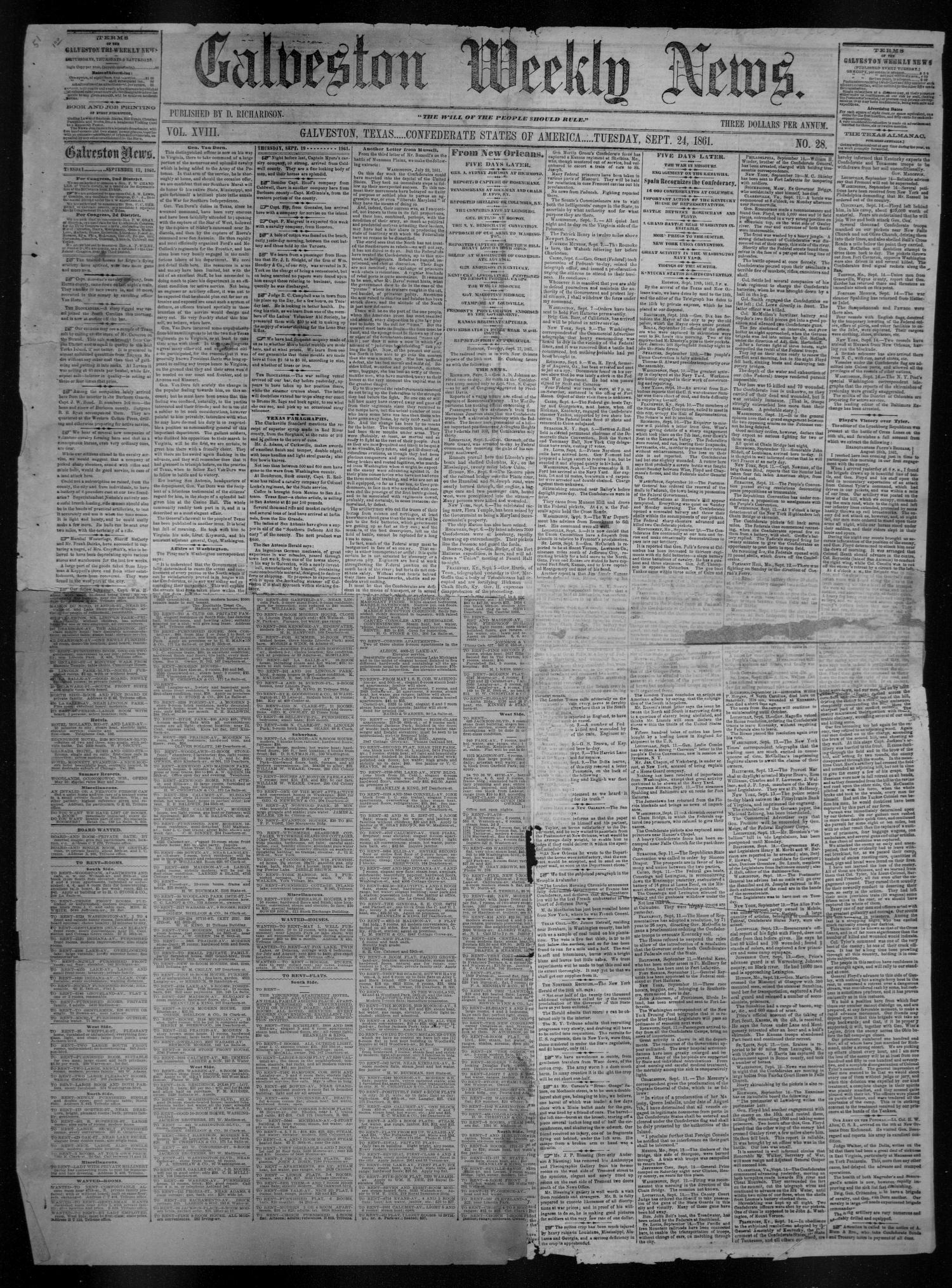 Galveston Weekly News (Galveston, Tex.), Vol. 18, No. 28, Ed. 1, Tuesday, September 24, 1861                                                                                                      [Sequence #]: 1 of 2