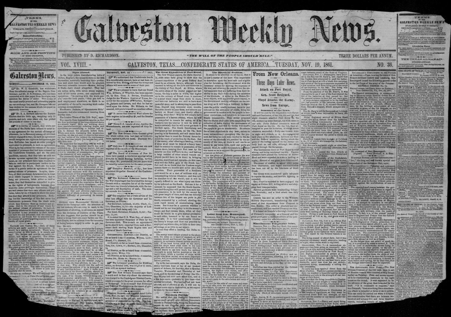 Galveston Weekly News (Galveston, Tex.), Vol. 18, No. 36, Ed. 1, Tuesday, November 19, 1861                                                                                                      [Sequence #]: 1 of 2