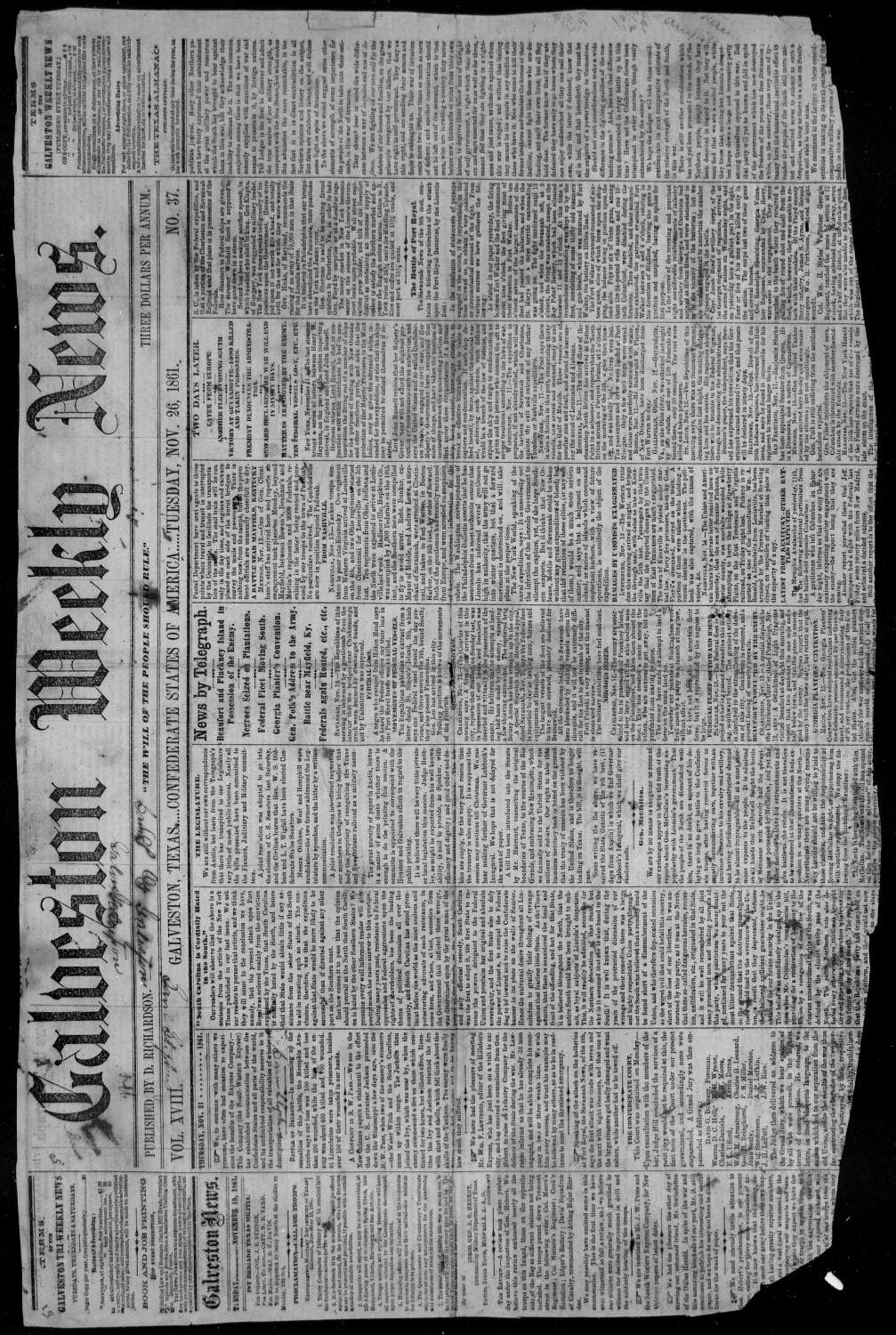 Galveston Weekly News (Galveston, Tex.), Vol. 18, No. 37, Ed. 1, Tuesday, November 26, 1861                                                                                                      [Sequence #]: 1 of 2