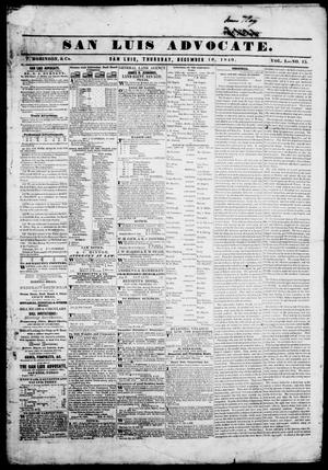 San Luis Advocate (San Luis, Tex.), Vol. 1, No. 15, Ed. 1, Thursday, December 10, 1840