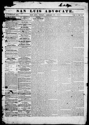 San Luis Advocate (San Luis, Tex.), Vol. 1, No. 18, Ed. 1, Friday, January 29, 1841