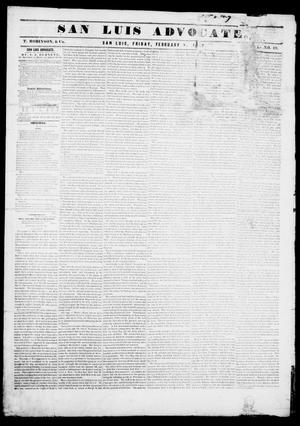 Primary view of San Luis Advocate (San Luis, Tex.), Vol. 1, No. 19, Ed. 1, Friday, February 5, 1841