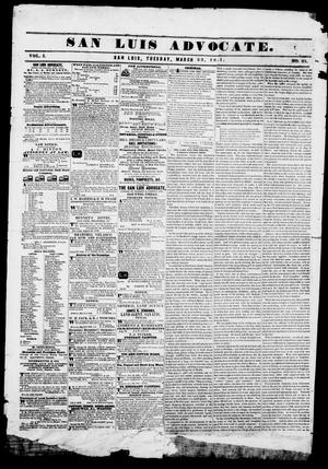Primary view of San Luis Advocate (San Luis, Tex.), Vol. 1, No. 25, Ed. 1, Tuesday, March 23, 1841