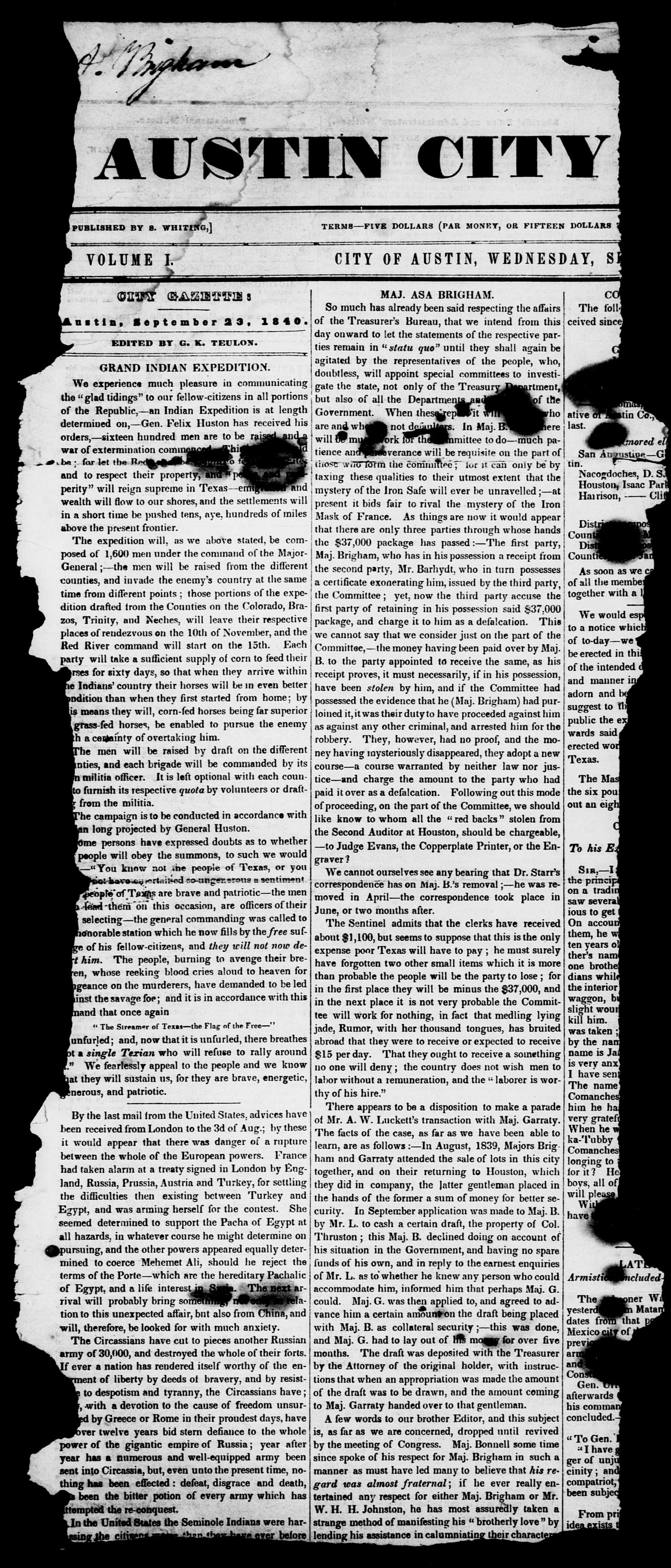 The Austin City Gazette (Austin, Tex.), Vol. 1, Ed. 1, Wednesday, September 23, 1840                                                                                                      [Sequence #]: 1 of 6