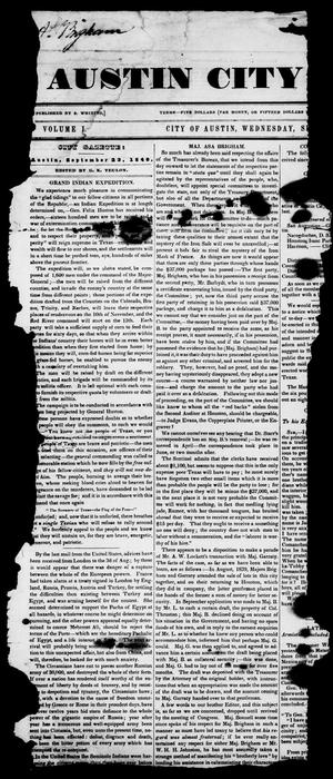 Primary view of object titled 'The Austin City Gazette (Austin, Tex.), Vol. 1, Ed. 1, Wednesday, September 23, 1840'.