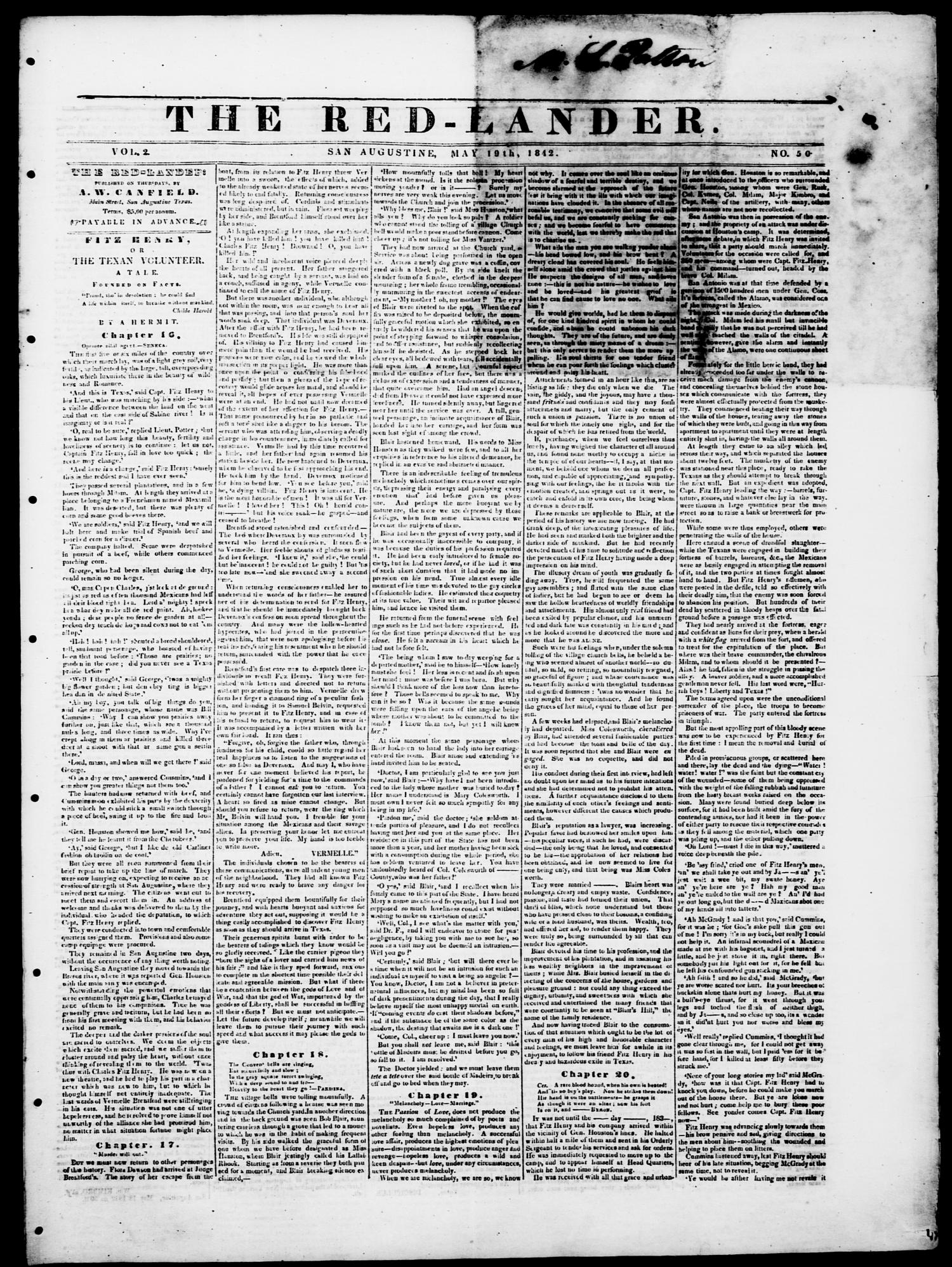 The Red-Lander. (San Augustine, Tex.), Vol. 2, No. 50, Ed. 1, Thursday, May 19, 1842                                                                                                      [Sequence #]: 1 of 4