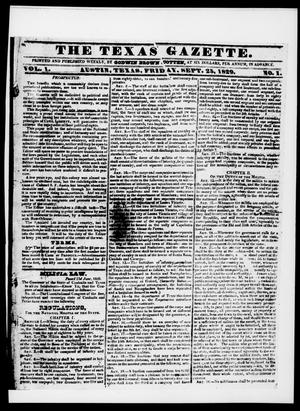 Primary view of object titled 'The Texas Gazette. (San Felipe de Austin, Tex.), Vol. 1, No. 1, Ed. 1, Friday, September 25, 1829'.