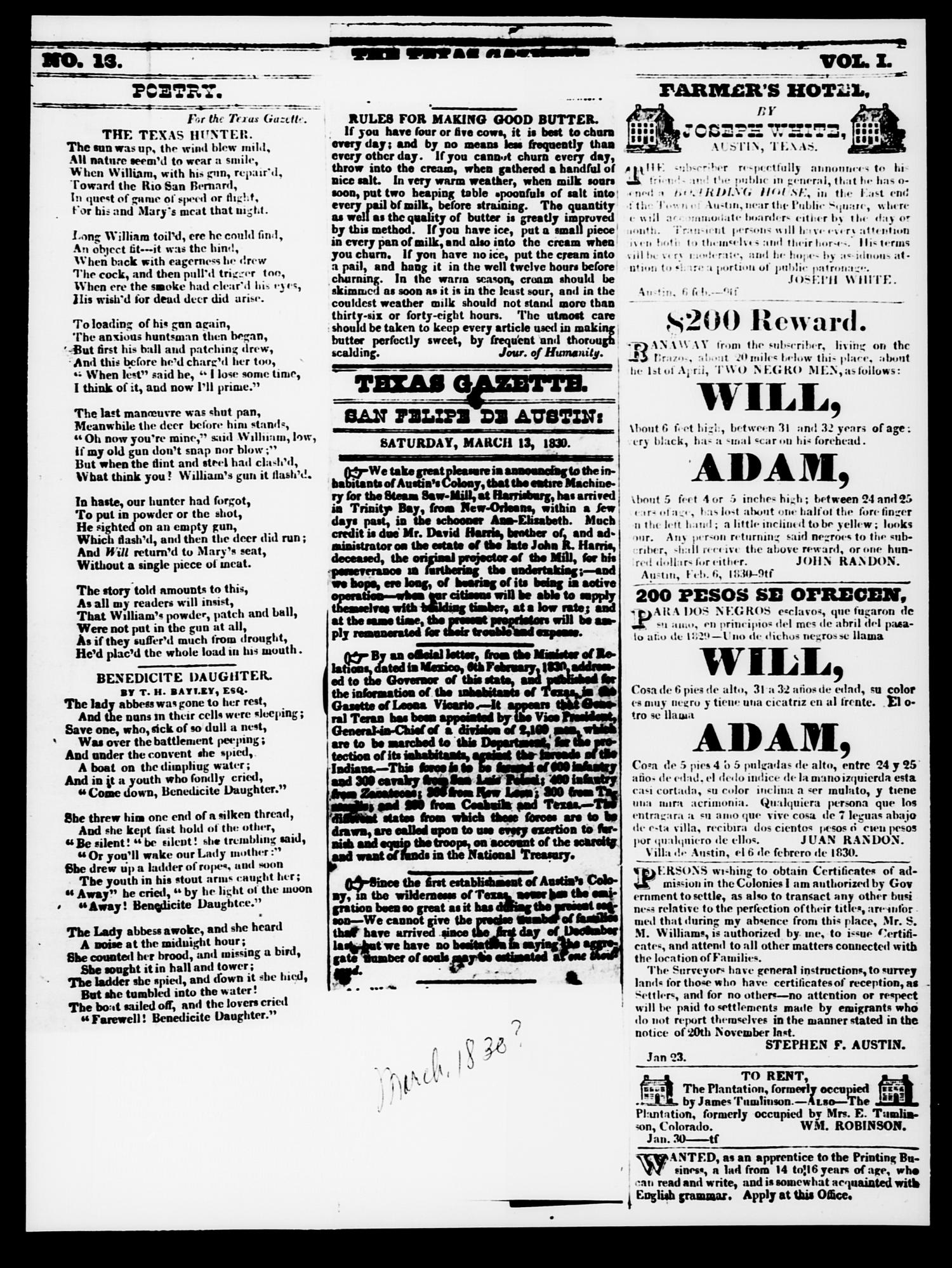 The Texas Gazette. (Austin, Tex.), Vol. 1, No. 13, Ed. 1, Saturday, March 13, 1830                                                                                                      [Sequence #]: 1 of 3