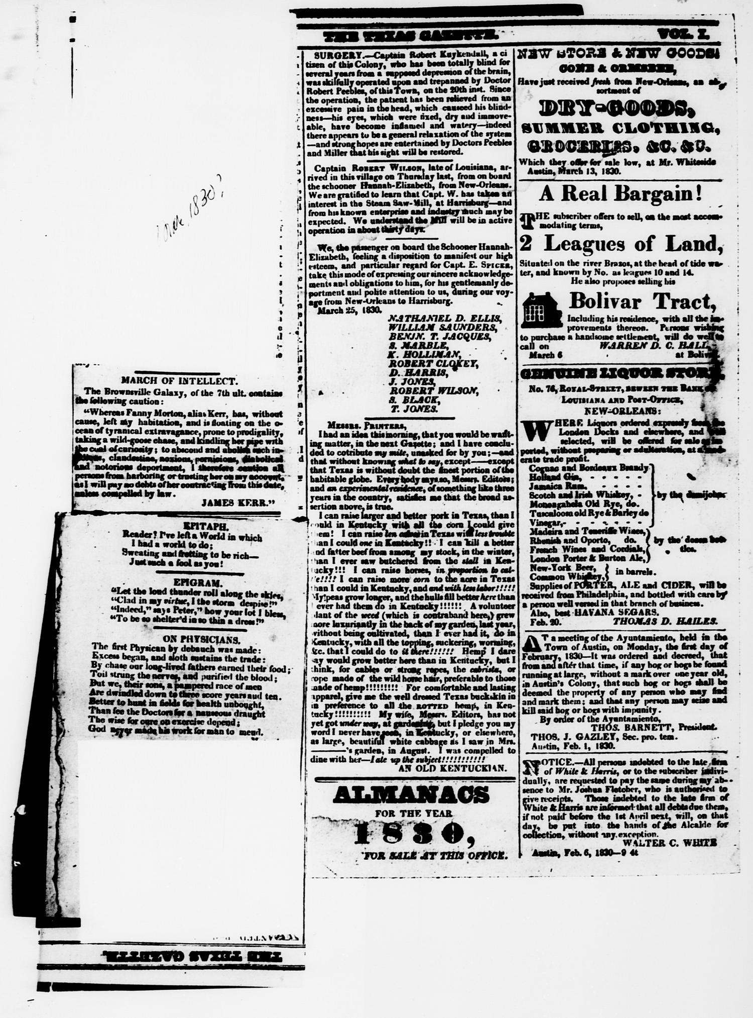 The Texas Gazette. (Austin, Tex.), Vol. 1, No. 13, Ed. 1, Saturday, March 13, 1830                                                                                                      [Sequence #]: 2 of 3