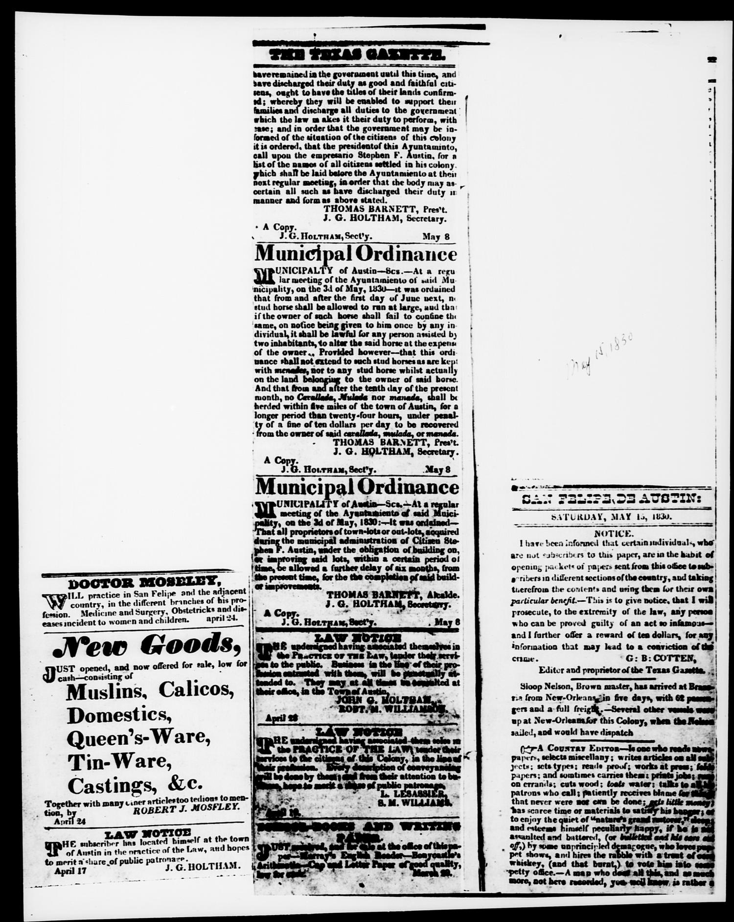 The Texas Gazette. (Austin, Tex.), Vol. 1, No. 25, Ed. 1, Monday, March 15, 1830                                                                                                      [Sequence #]: 2 of 2
