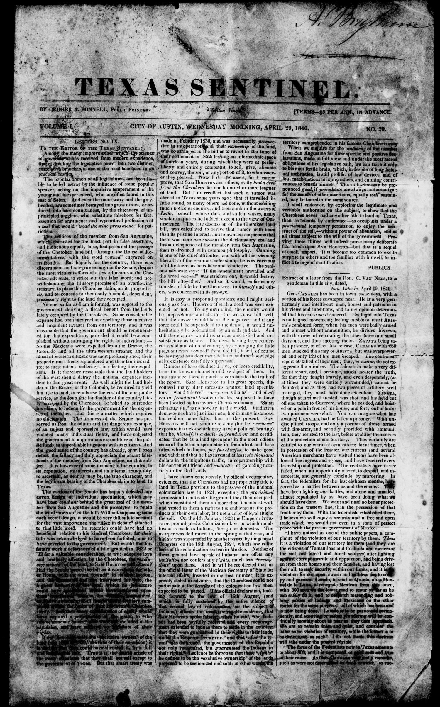 Texas Sentinel. (Austin, Tex.), Vol. 1, No. 20, Ed. 1, Wednesday, April 29, 1840                                                                                                      [Sequence #]: 1 of 4