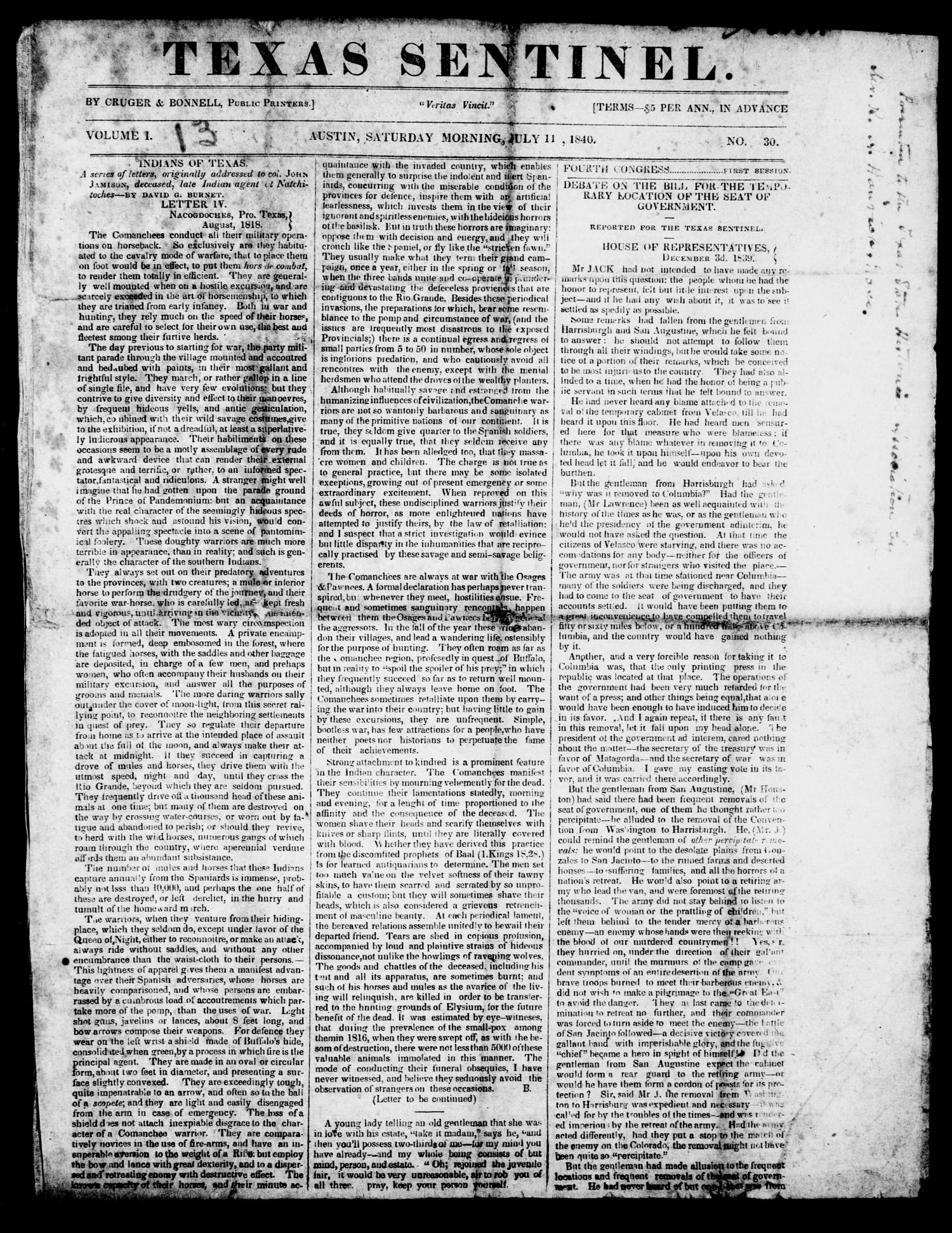Texas Sentinel. (Austin, Tex.), Vol. 1, No. 30, Ed. 1, Saturday, July 11, 1840                                                                                                      [Sequence #]: 1 of 4