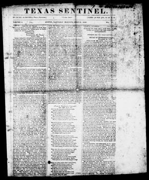 Primary view of object titled 'Texas Sentinel. (Austin, Tex.), Vol. 1, No. 31, Ed. 1, Saturday, July 18, 1840'.