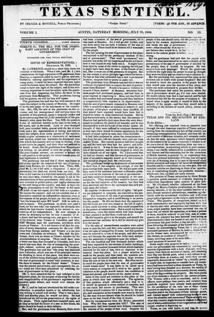 Primary view of object titled 'Texas Sentinel. (Austin, Tex.), Vol. 1, No. 32, Ed. 1, Saturday, July 25, 1840'.