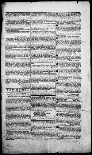 Primary view of object titled 'Texas Sentinel. (Austin, Tex.), Vol. 1, No. 48, Ed. 1, Saturday, November 14, 1840'.