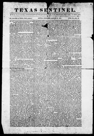 Primary view of object titled 'Texas Sentinel. (Austin, Tex.), Vol. 2, No. 15, Ed. 1, Thursday, March 18, 1841'.