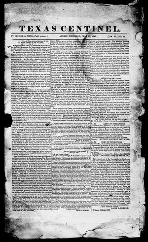 Primary view of object titled 'Texas Centinel. (Austin, Tex.), Vol. 2, No. 25, Ed. 1, Thursday, May 27, 1841'.