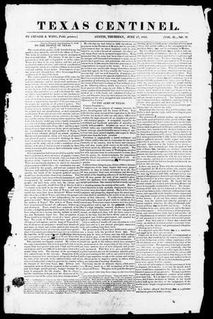 Primary view of object titled 'Texas Centinel. (Austin, Tex.), Vol. 2, No. 28, Ed. 1, Thursday, June 17, 1841'.