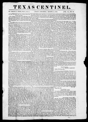 Primary view of Texas Centinel. (Austin, Tex.), Vol. 2, No. 36, Ed. 1, Thursday, August 5, 1841