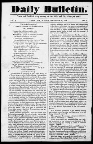 Primary view of object titled 'Daily Bulletin. (Austin, Tex.), Vol. 1, No. 2, Ed. 1, Monday, November 29, 1841'.