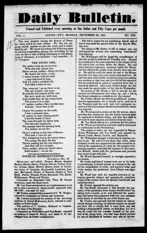 Primary view of object titled 'Daily Bulletin. (Austin, Tex.), Vol. 1, No. 19, Ed. 1, Monday, December 20, 1841'.