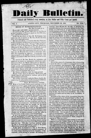 Primary view of object titled 'Daily Bulletin. (Austin, Tex.), Vol. 1, No. 21, Ed. 1, Thursday, December 23, 1841'.