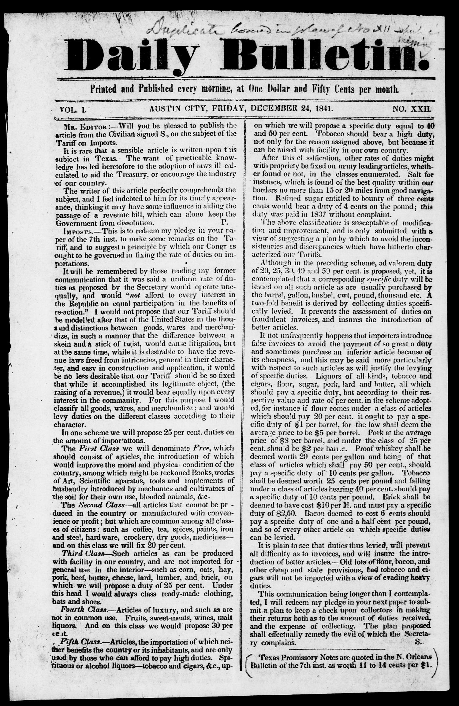 Daily Bulletin. (Austin, Tex.), Vol. 1, No. 22, Ed. 1, Friday, December 24, 1841                                                                                                      [Sequence #]: 1 of 4