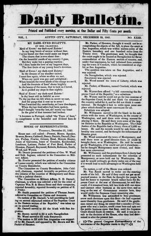 Primary view of object titled 'Daily Bulletin. (Austin, Tex.), Vol. 1, No. 23, Ed. 1, Saturday, December 25, 1841'.
