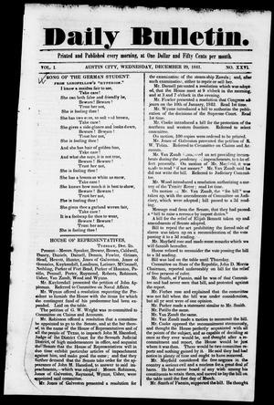 Primary view of object titled 'Daily Bulletin. (Austin, Tex.), Vol. 1, No. 26, Ed. 1, Wednesday, December 29, 1841'.