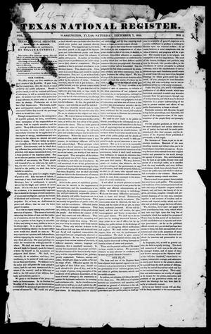 Primary view of Texas National Register. (Washington, Tex.), Vol. 1, No. 1, Ed. 1, Saturday, December 7, 1844