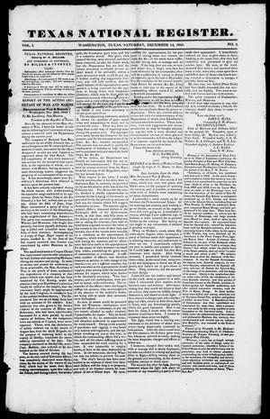 Primary view of object titled 'Texas National Register. (Washington, Tex.), Vol. 1, No. 2, Ed. 1, Saturday, December 14, 1844'.