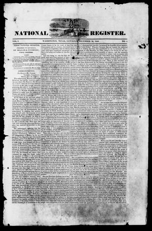 Primary view of object titled 'Texas National Register. (Washington, Tex.), Vol. 1, No. 4, Ed. 1, Saturday, December 28, 1844'.