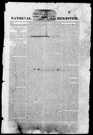 Primary view of object titled 'Texas National Register. (Washington, Tex.), Vol. 1, No. 6, Ed. 1, Saturday, January 11, 1845'.