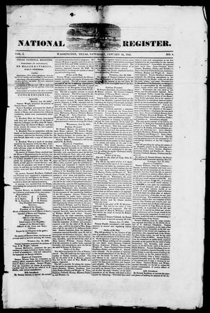 Primary view of object titled 'Texas National Register. (Washington, Tex.), Vol. 1, No. 8, Ed. 1, Saturday, January 25, 1845'.