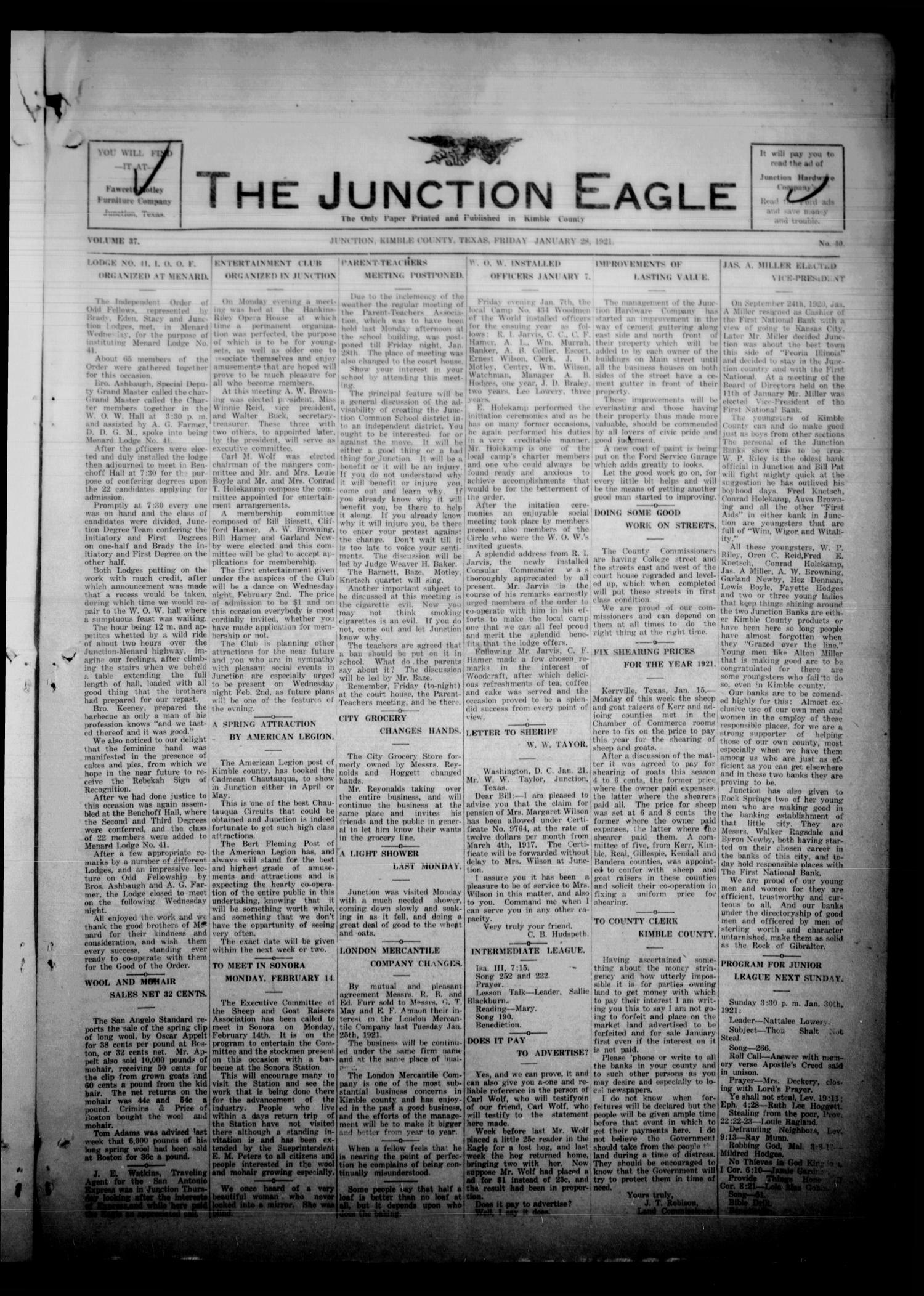 The Junction Eagle (Junction, Tex.), Vol. 37, No. 40, Ed. 1 Friday, January 28, 1921                                                                                                      [Sequence #]: 1 of 8