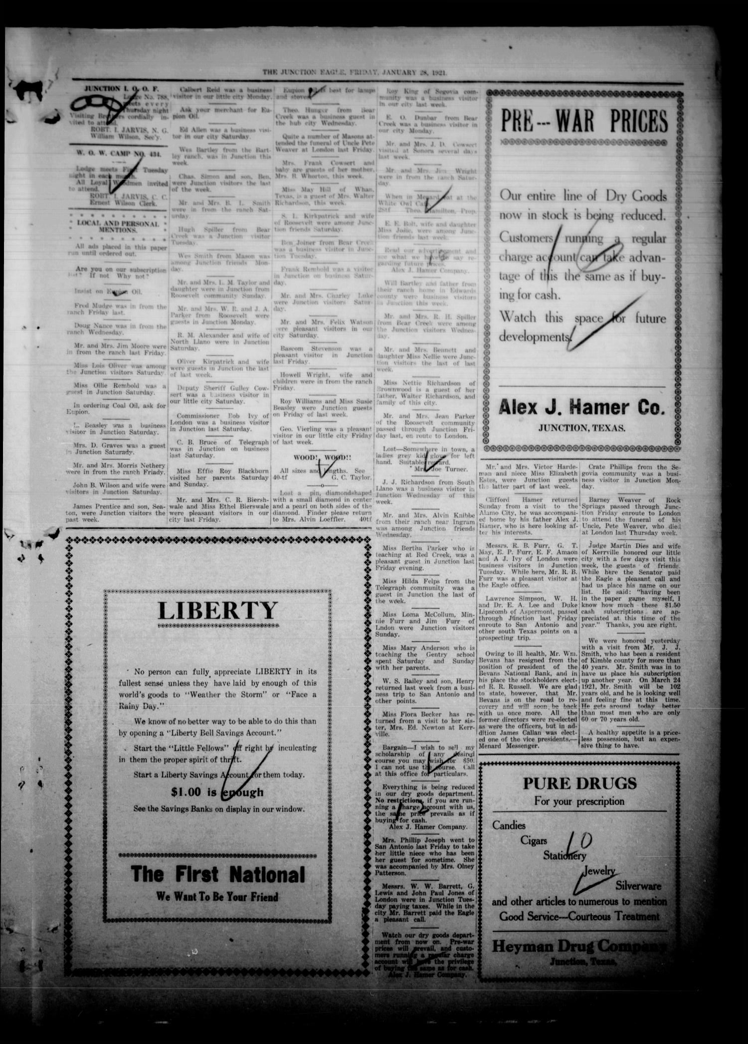The Junction Eagle (Junction, Tex.), Vol. 37, No. 40, Ed. 1 Friday, January 28, 1921                                                                                                      [Sequence #]: 5 of 8
