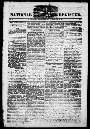 Primary view of object titled 'Texas National Register. (Washington, Tex.), Vol. 1, No. 9, Ed. 1, Saturday, February 1, 1845'.