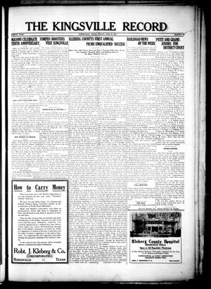 Primary view of object titled 'The Kingsville Record (Kingsville, Tex.), Vol. 8, No. 41, Ed. 1 Friday, June 25, 1915'.