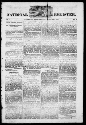 Primary view of object titled 'Texas National Register. (Washington, Tex.), Vol. 1, No. 10, Ed. 1, Saturday, February 8, 1845'.