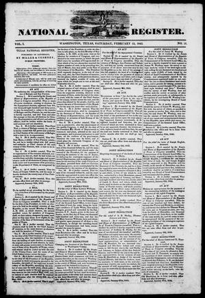 Primary view of object titled 'Texas National Register. (Washington, Tex.), Vol. 1, No. 11, Ed. 1, Saturday, February 15, 1845'.