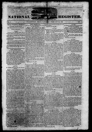 Primary view of object titled 'Texas National Register. (Washington, Tex.), Vol. 1, No. 12, Ed. 1, Saturday, February 22, 1845'.