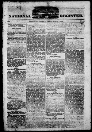 Primary view of object titled 'Texas National Register. (Washington, Tex.), Vol. 1, No. 13, Ed. 1, Saturday, March 1, 1845'.