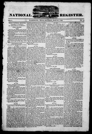 Primary view of object titled 'Texas National Register. (Washington, Tex.), Vol. 1, No. 14, Ed. 1, Saturday, March 8, 1845'.