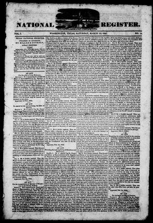 Primary view of object titled 'Texas National Register. (Washington, Tex.), Vol. 1, No. 15, Ed. 1, Saturday, March 15, 1845'.