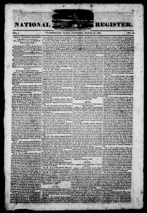 Primary view of object titled 'Texas National Register. (Washington, Tex.), Vol. 1, No. 16, Ed. 1, Saturday, March 22, 1845'.