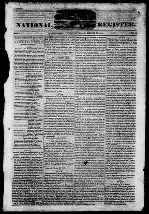 Primary view of object titled 'Texas National Register. (Washington, Tex.), Vol. 1, No. 17, Ed. 1, Saturday, March 29, 1845'.